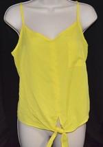 Women's /Juniors Love 2 Be Loved Yellow Crop Tie Hem Top With Spaghetti ... - $4.94