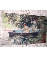 Antique Print-Two Victorian Women Rowing Boat-Colorful,Artis - $25.00