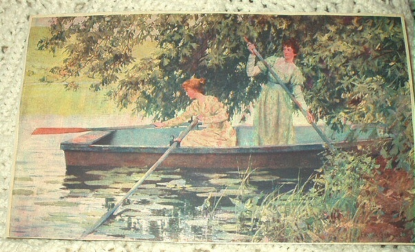 Antique Print-Two Victorian Women Rowing Boat-Colorful,Artis