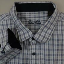 Tasso Elba Button Up Shirt Mens 2XL Blue Long Sleeve Cotton Plaid Casual... - $18.95