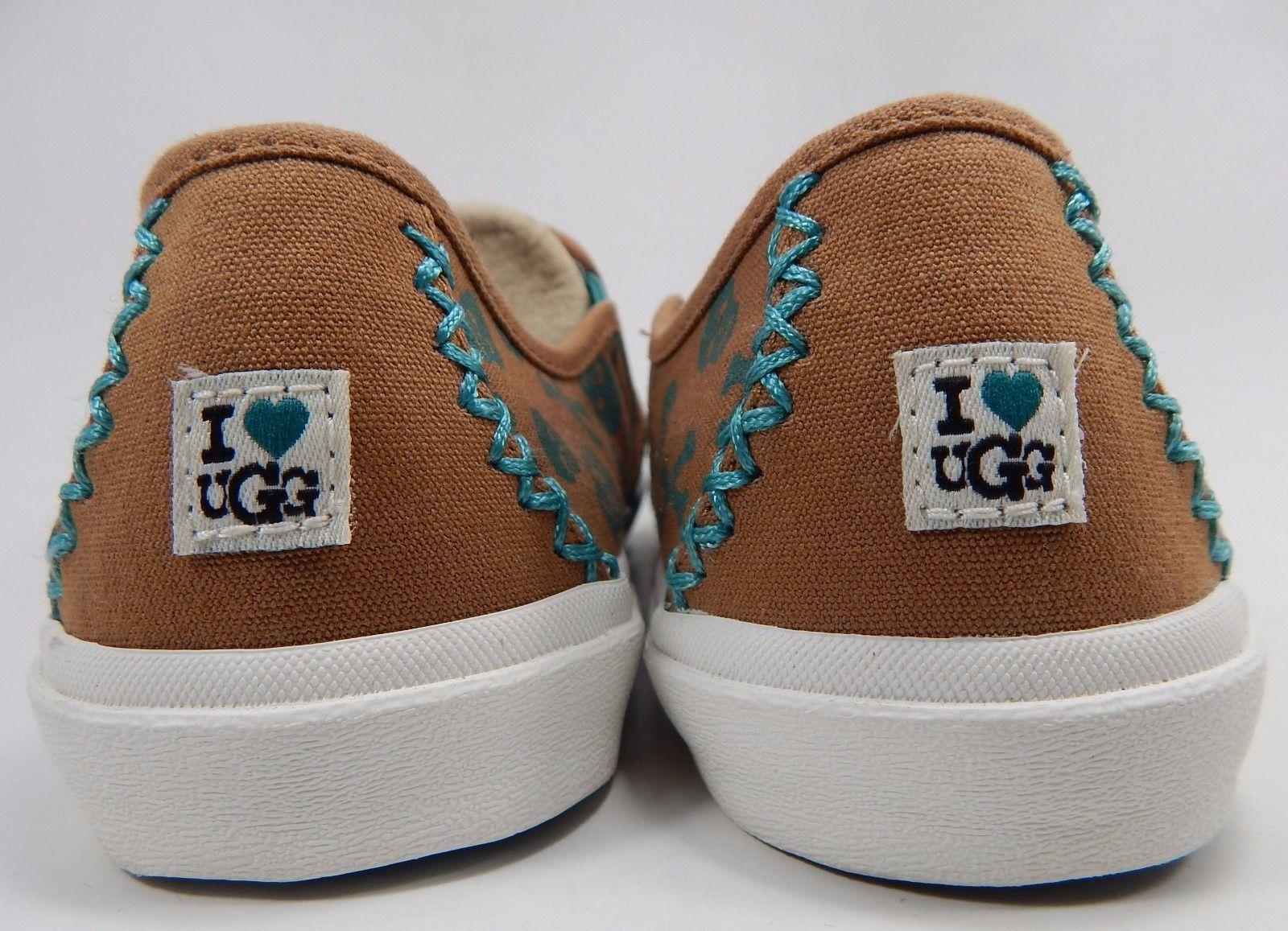 UGG Australia I Heart Belle Skulls Slip On Slippers Flats Size 7 M Brown Green