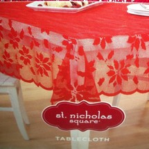 Red Lace Tablecloth 60 x 84 Oblong Xmas Poinsettia Overlay Scalloped Edges - $22.76