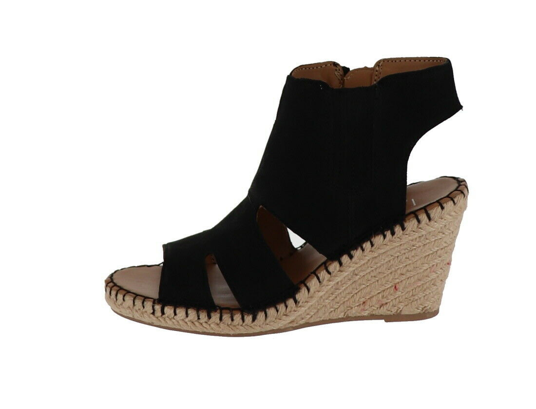 Franco Sarto Leather Cut-out Espadrille Wedges Nola Black 6M NEW A288518