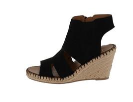 Franco Sarto Leather Cut-out Espadrille Wedges Nola Black 6M NEW A288518 image 1