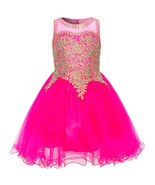 Fuchsia Fabulous Gold Trimmed Corset Back Closure Wired Tulle Skirt Girl... - $88.99+