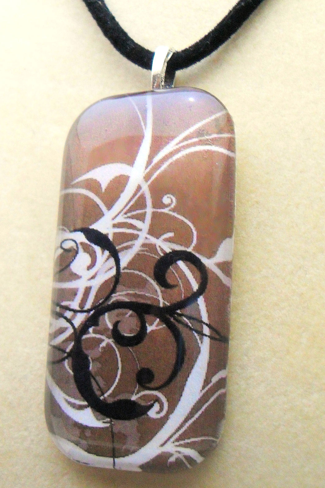 Mocha Swirl Square Tile Art Glass Necklace