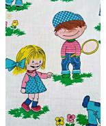 Darling Vintage 1960's Playing Children Graphic Cotton Rod Pocket Curtai... - $28.00
