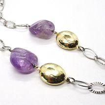 925 Silber Halskette, Amethyst Lila, Kette Oval Mattiert, Länge 65 CM image 4
