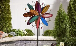 "84"" Iron Flower Design Wind Spinner Garden Stake Multi Colored Layered 3 Pronged - $168.29"