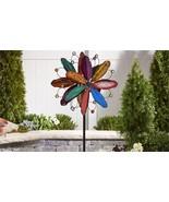 "84"" Iron Flower Design Wind Spinner Garden Stake Multi Colored Layered 3... - $168.29"