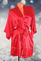 NWT VS VICTORIA'S SECRET Satin Silky Kimono Robe Ties Belt 2 Pockets XS ... - $44.99