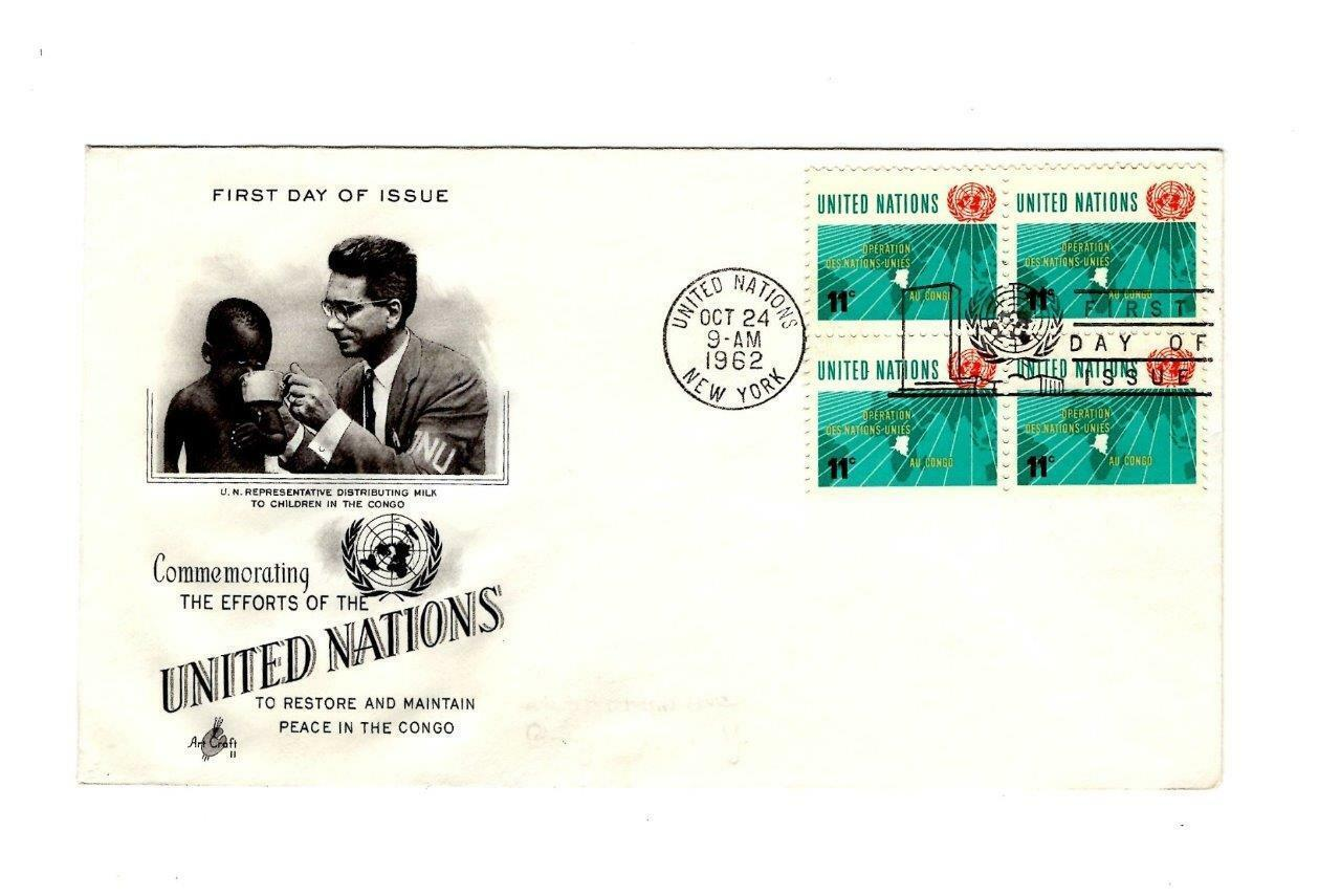 FDC ENVELOPE- 11c U.N. OPERATION IN THE CONGO -BL4 1962 ART CRAFT CACHET BK12