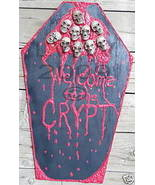 Welcome to the Crypt Bloody Skull Coffin Halloween Sign - $22.75
