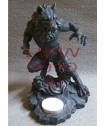 Fierce Werewolf Grey Resin Tea Candle Holder Gothic - $22.50
