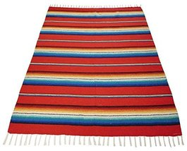 Southwest Afghan Throw Sarape Blanket Red Mexico Beach Yoga Travel Wrap ... - $40.06 CAD