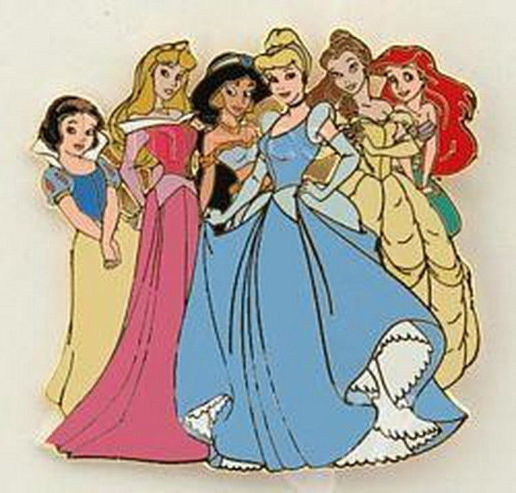 Ariel Jasmine Cindy Belle Aura Snow White Portrait Authentic Disney pin on card