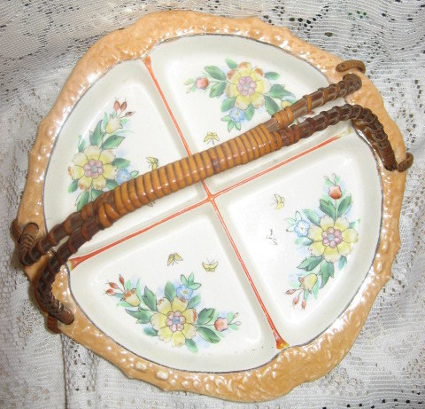 Lusterware Divided Relish Dish w/ Wicker Handle-Japan