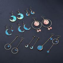 Terreau Kathy 2018 New Korean Style Jewelry Blue Star Moon Long Drop Ear... - $6.30+