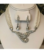 Formal sparkling pearl and teardrop crystal necklace set Wedding jewelry... - $20.99