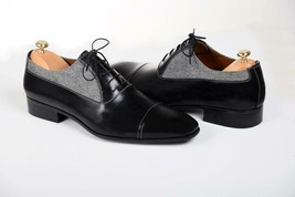 Handmade Men's Black Leather and Tweed Two Tone Dress/Formal Oxford Shoes image 4