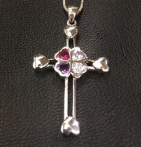 14K Gold Layer On Solid Silver Swarovski Heart Cross Charm Pendant Free ... - $36.42