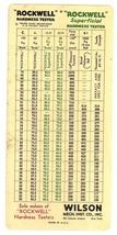 Rockwell Kent Tool Co advertising pocket chart hardness tester vintage - $8.50