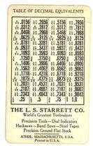 Starrett Tools advertising pocket chart 1930's vintage - $9.99