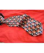 Vintage Mens Silk NeckTie Red Navy Doves - $7.95