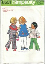 Simplicity 6531 Toddler Girls Applique Dress or Top & Bell-Bottom Pants ... - $6.99