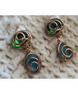 Vintage Clip Earrings Gold Wrapped Glass Beads Green Blue - $6.95