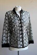 Talbots 14 Black Mesh Embroidered Floral Velvet Trim Jacket Top - $28.49
