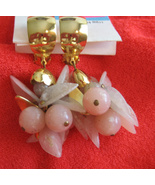 Pair Lucite Pink Berries Dangle Vintage Clip Earrings Gold Toned - $9.95