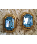 Vintage Clip Earrings Baby Blue Faceted Glass in Gold - $6.95