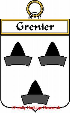 GRENIER French Coat of Arms Print GRENIER Family Crest
