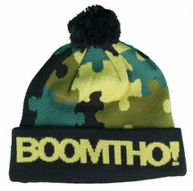 BoomTho Puzzling Green Camo Beanie Jigsaw Puzzle Pom Hat