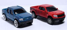 2 New Ford Lot 1 F150 Raptor Red & 1 Explorer Sport Trac Blue (+ Free Key Chain) - $19.98