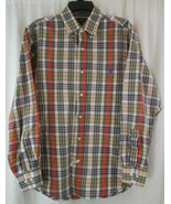 US Polo Assn. Men's M Red Orange Green Plaid Button Down Front Long Slee... - $11.87