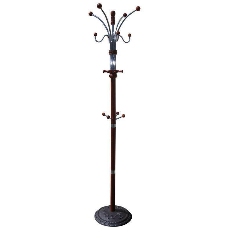 "Primary image for ORE INTERNATIONAL R685CH CHERRY FINISHED WOOD AND METAL COAT RACK  STAND 73"" H"
