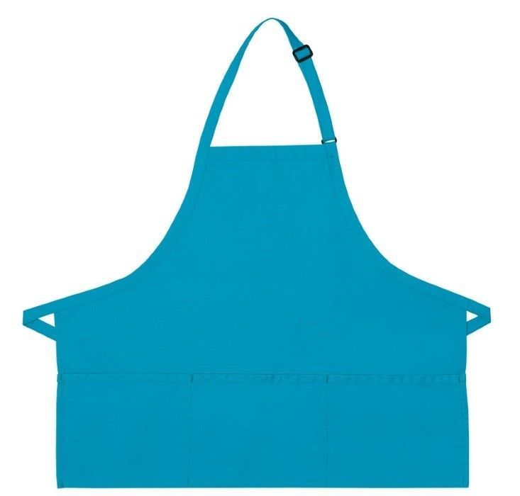 Turquoise Bib Apron 3 Pocket Craft Restaurant Baker Butcher Adjustable USA New - $15.65