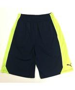 Puma Boys XL 18-20 Training Athletic Gym Basketball Shorts Navy Blue Light Green - $17.81