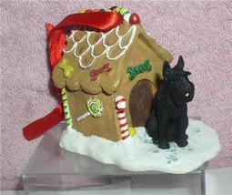 Scottie Dog Gingerbread House handcrafted sculpture ornament mint in box - $66.98