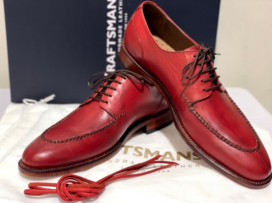 Handmade Men's Red Leather Lace Up Oxford Dress/Formal Shoes