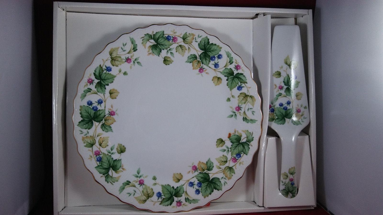ANDREA by SADEK 10  Cake Plate u0026 Server VINEYARD Pattern w/ Orig Box Japan & Andrea By Sadek 10