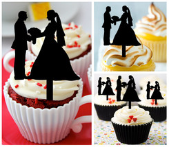Decorations Wedding,Anniversary,Cupcake topper,silhouette Wedding Couples 10 pcs - $10.00