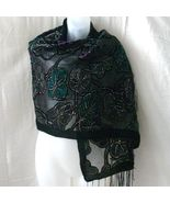 New black, purple and green rayon velvet fringed scarf - $11.25
