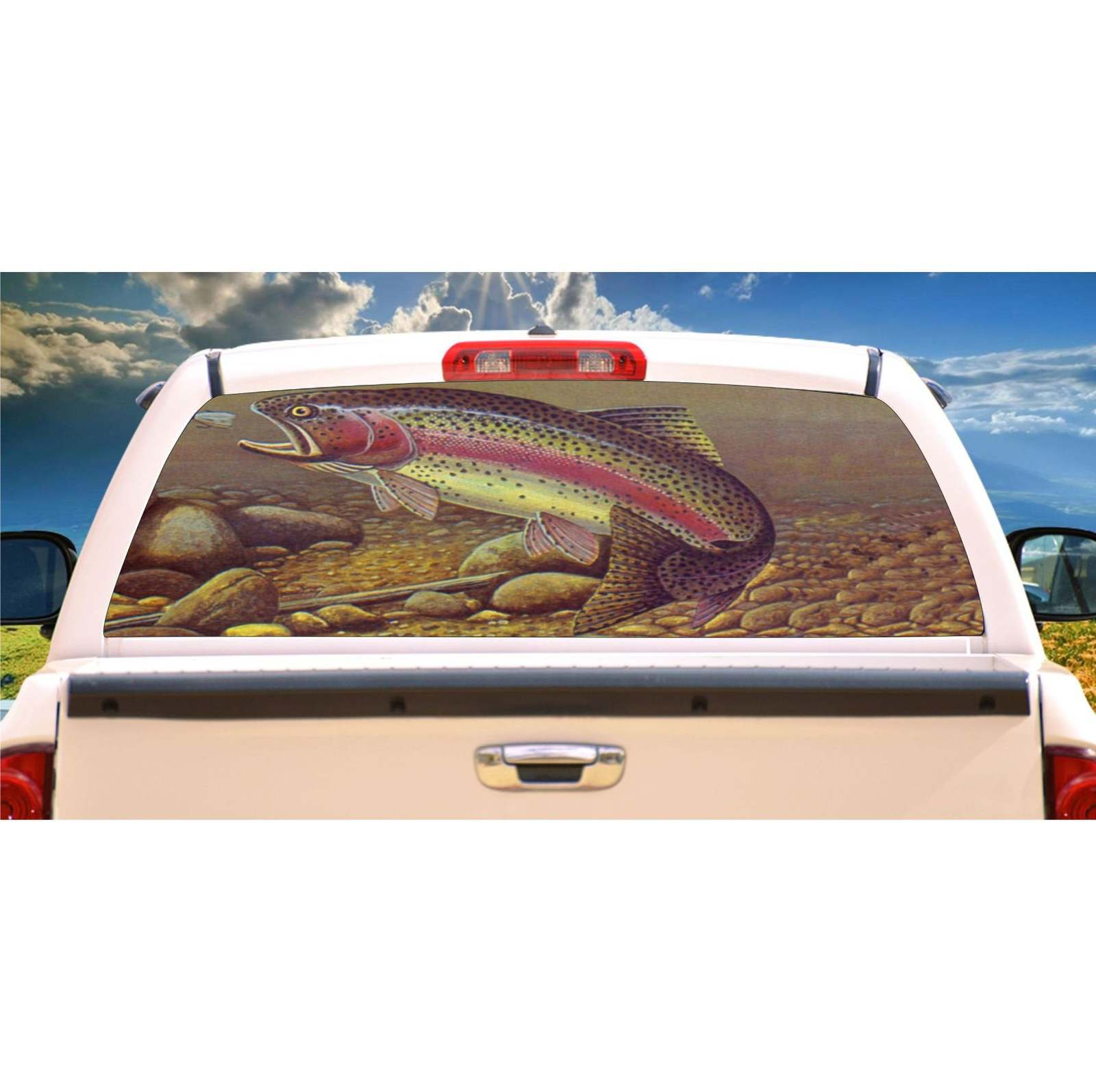 Trout Fishing Rear Window Mural, Decal, or Tint for rear window in Truck, RV, Ca - $77.99