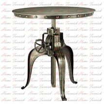 Industrial Iron Crank Bistro Table Round Adjustable Crank End Table In N... - $650.00