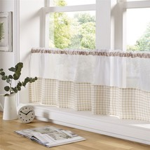"Beige And White Gingham 59"" X 18"" – 150CM X 45CM Kitchen Cafe Curtain Panel - $8.03"