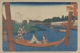 Island bridge in Mitsumata (Ohashi nakazu mitsumata) by Ando Hiroshige - Art Pri - $19.99+