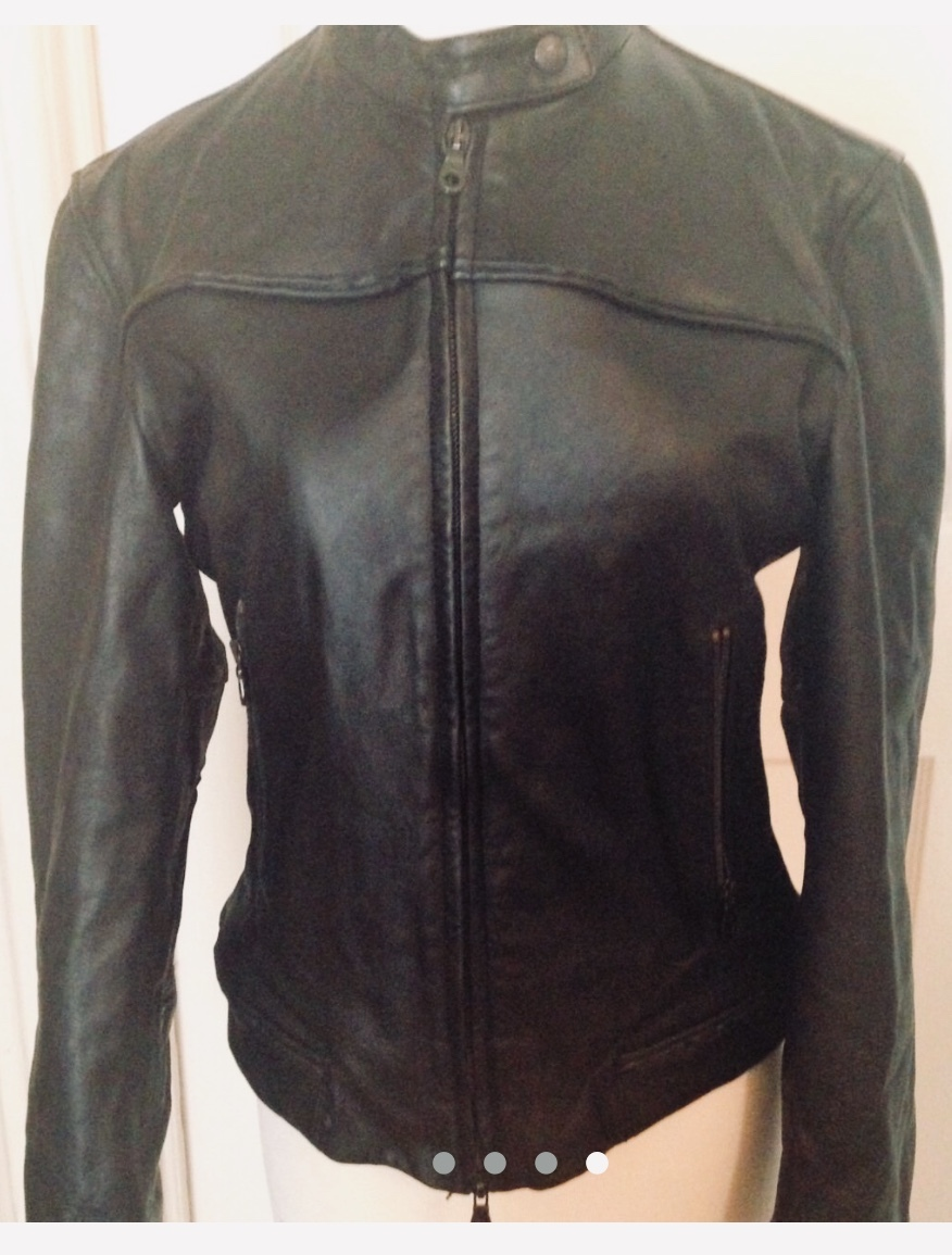 Vintage Ladies Georgio Armani Black Leather Jacket Size 8